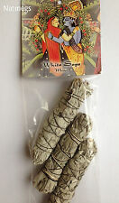 "WHITE SAGE CALIFORNIAN~THREE MINI 4"" SMUDGE STICKS~CLEANSE~BALANCE~FREE PP UK"