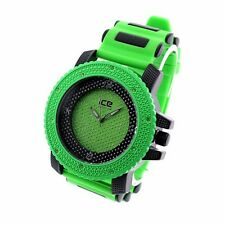 MENS ICED OUT HIP HOP BLING GREEN/BLACK ICE MASTER BULLET BAND WATCH