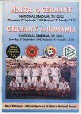 02.09. + 05.09.1998 Malta - Deutschland + Rumänien - Deutschland in Attard