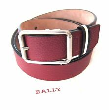 J-1625989 New Bally Red Silver Buckle Belt Size 42 Marked 105