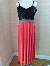 Palasan Womens Black Red Formal Gown Dress sz XL Sequins Rhinestones Padded Bra