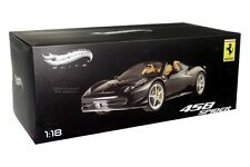 FERRARI 458 ITALIA SPIDER DIE CAST MATT BLACK 1/18 BY HOT WHEELS ELITE BCJ90