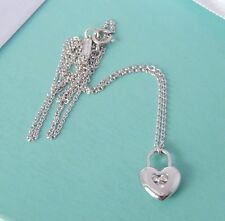Tiffany & Co 18k White Gold 3 Diamond Puffed Heart Lock Charm Pendant Necklace