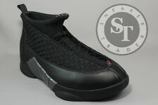 AIR JORDAN 15 XV 881429-001 STEALTH BLACK VARSITY RED ANTHRACITE DS SIZE: 10