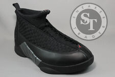 AIR JORDAN 15 XV 881429-001 STEALTH BLACK VARSITY RED ANTHRACITE DS SIZE: 14