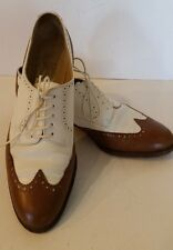 Woman's Salvatore Ferragamo Brown and White Wingtip Oxford Loafers Size 5.5 B