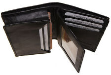 Mens Expandable Leather Credit/Business Card Holder front pocket flap Wallet Bk