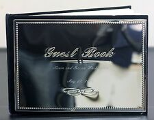 Silver-Plated Velvet Wedding Signatures Guest Book CUSTOM ENGRAVED FREE