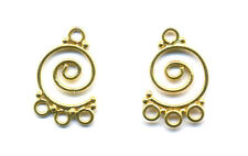 Gold Vermeil swirly CHANDELIER earring parts connectors , 1 PAIR