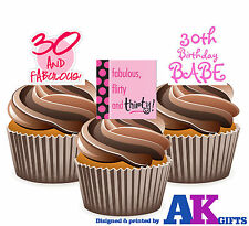 Ladies Pink Happy 30th Birthday Party Mix 12 Cup Cake Toppers Edible Decorations