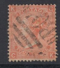 GB SURFACE PRINTED:1872 Large Garter 4d  vermillion plate 13 -C-K  SG 94 used