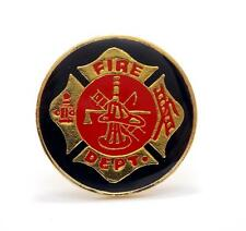 Fire Fighter Maltese Cross Round Lapel Hat Pin PPM239