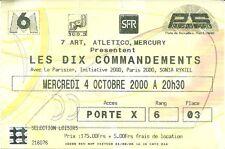RARE / TICKET DE CONCERT - LES DIX COMMANDEMENTS : COMEDIE MUSICALE - PARIS 2000
