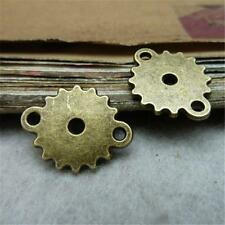 50pcs Antique Style Tone Charm Toothed Wheel Gear 15*18mm Connector Pendant P278