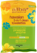 Hawaiian Skin Care Pineapple Enzyme Towelettes, Alba Botanica, 10 piece