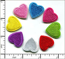 """40 Pcs Embroidered Iron on Mini patches 8 color Love Heart 0.75""""x0.75"""" AP015eB"""