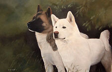 """JAPANESE AKITA DOG FINE ART LIMITED EDITION PRINT - """"Two of a Kind"""""""
