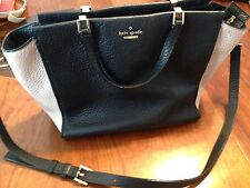 Women's Kate Spade New York Black & Tan Leather Purse Handbag w/ Shoulder Strap