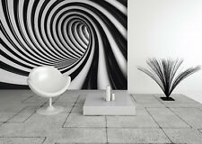 Grande photo papier peint chambre & salon mural noir spirale tourbillon