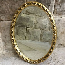 C19th Style Gilt Framed Small Oval Wall Hanging Mirror - Antique Reproduction