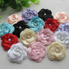 DIY 6pcs Satin ribbon bows flower with pearl wedding appliques/Crafts ,mix