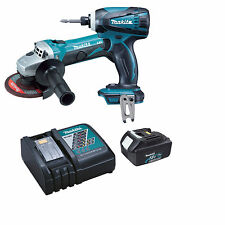 Makita DGA452 18v Grinder, DTD146 Impact Driver + BL1830 Battery and Charger