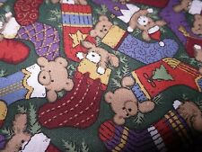 CHRISTMAS BEARS IN THE STOCKING- COTTON--   BY THE YARD