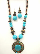 Vintage  Bohemian Turquoise Blue Pendant Wood Bead Necklace  Earring Set