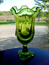 ViNTaGe GReeN VIKING DRaPeD ArT DeCo GLaSs Stretch Flute Vase~3 Side Footed Base