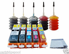 5 Refillable cartridges for Canon PGI-220 CLI-221 iP3600 iP4600 iP4700 + 5x30ml