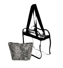 Black Accent Clear Zippered Tote Bag See Thru Game Day Matching Zebra Liner