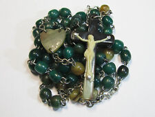 † SCARCE UNIQUE VINTAGE MONK DYED GREEN & NATRUAL HTF IRISH CATTLE HORN ROSARY †