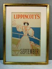 ORIGINAL VINTAGE 1895 LIPPINCOTT'S SEPTEMBER ADVERTISING LITHOGRAPH POSTER SIGN