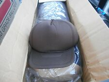 2 DOZEN 24 BROWN POLYESTER SEAMLESS FOAM BACK Hats Baseball Caps WHOLESALE LOT