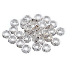 30pcs Silver Plated  Rhinestone Rondelle Spacer Beads Findings 5mm
