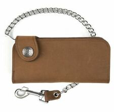 Brown Leather Chain Wallet -  Buffalo Nickel Snaps - For Bikers - USA Made