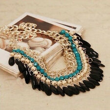 Hot Fashion Jewelry Crystal Chunky Statement Bib Pendant Chain Choker Necklace
