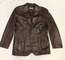 City Streets Dark Brown Leather Jacket Blazer Mens 40 M / L Korea EUC