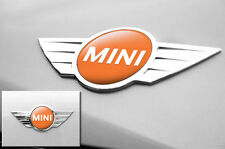 "Mini Cooper 1.75"" Inch Logo Emblems Decals x2 Vinyl Stickers for Badges ORANGE"