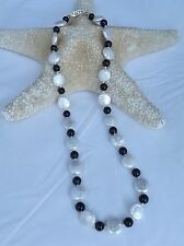 NEW FRESHWATER WHITE COIN PEARL AND 6MM BLACK ONYX BEAD NECKLACE 18.5""