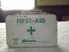 VINTAGE PULMOSAN SAFETY EQUIPMENT FLUSHING NY METAL FIRST-AID KIT BOX
