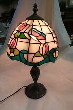 VINTAGE  TIFFANY STYLE LAMP WITH METAL BASE
