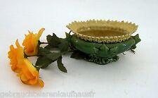 Schöne dekorative Keramikschale mit Fuß Dekoschale verziehrt grün glasiert