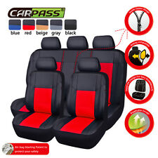 UNIVERSAL BLACK RED LEATHER CAR SEAT COVERS FIT CAR TRUCK SUV SEAT COVERS Airbag