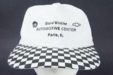 Vtg 1990s Steve Winkler Paris Checkerboard Checked Hat GM Chevrolet Chrysler