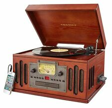 NEW - CROSLEY Wood Record Player Turntable Phonograph Ipod MP3 Player Ready & CD