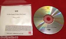 U2 I'll Go Crazy If I Don't Go Crazy CD Blue Acetate Promo with PRESS STICKER