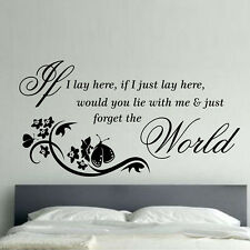 Fashion Vinyl If I lay here Quote Decal Wall Sticker Home Arts Decor Wall