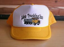 Vintage Lion Trucking Embroidered Yellow Trucker Cap Truck Driver Hat Snapback