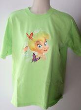 Disney Green Tinkerbell Shirt Size L Womens Butterflies Tink